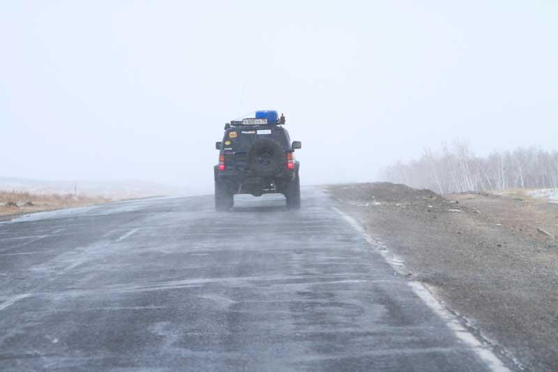 На подходе к Агинскому начался снег.