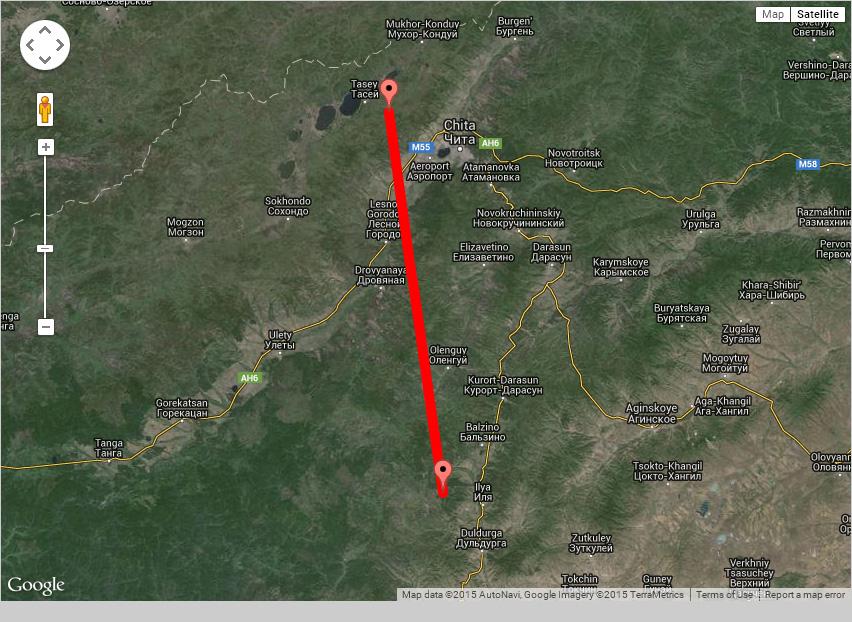 Установленная связъ Яблоновый хребет - Алханай. Около 140 км.